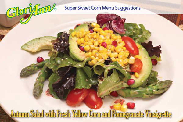 Autumn Salad with Fresh Yellow Corn and Pomegranate Vinaigrette